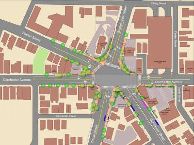 Image of a 6 star intersection with traffic calming and planting.