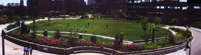 Image of a large elliptical park with garden beds and the city beyond