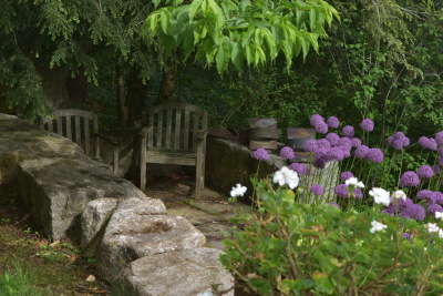a queit shady corner overlooking the the garden